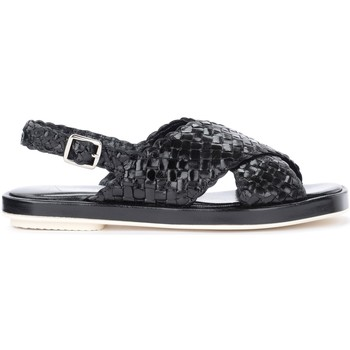 Shoes Women Sandals Pon´s Quintana Malena black sandal in woven leather Black