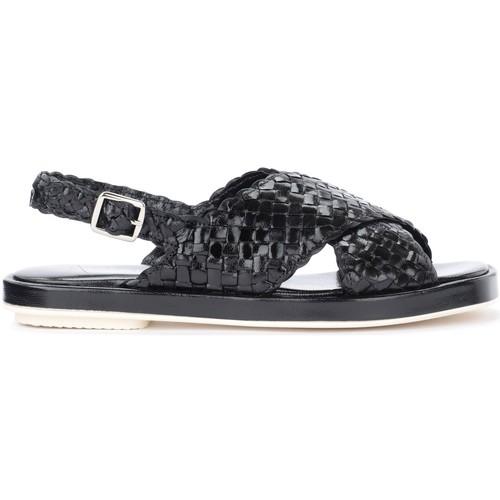 Shoes Women Sandals Pon´s Quintana Malena black sandal in woven leather Black
