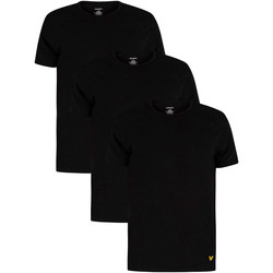 Clothing Men Short-sleeved t-shirts Lyle & Scott 3 Pack Maxwell Lounge Crew T-Shirts black