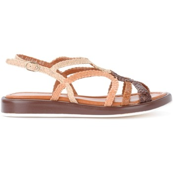 Shoes Women Sandals Pon´s Quintana Anais model sandal in woven brown and tan leather Brown