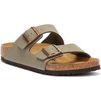 Shoes Men Mules Birkenstock Arizona Birko Flor Nubuck Stone Sandals Grey