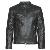 Clothing Men Leather jackets / Imitation leather Guess PU LEATHER BIKER Black