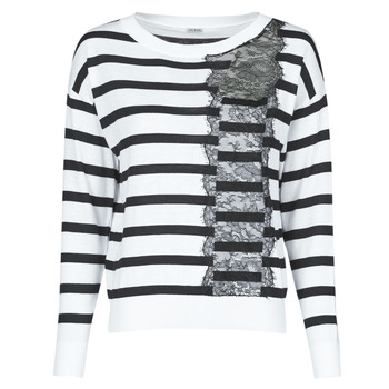 Clothing Women Jumpers Guess MARIA RN LS SWTR White / Black