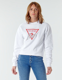 Clothing Women Sweaters Guess ICON FLEECE White