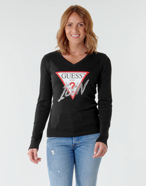 Clothing Women Long sleeved tee-shirts Guess ICON TEE Black / Multicolour