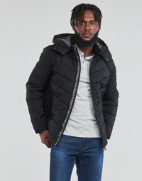Clothing Men Duffel coats Guess STRETCH PUFFA HOODED Black