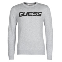 Clothing Men Jumpers Guess LOGO SWEATER Grey