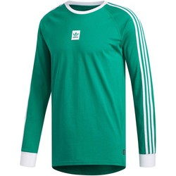 Clothing Men Long sleeved tee-shirts adidas Originals Bold Green-White Cali BB Long Sleeved T-Shirt Green