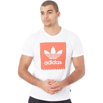 Clothing Men Short-sleeved t-shirts adidas Originals White-Trace Scarlet Solid Blackbird T-Shirt White
