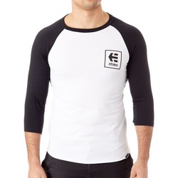 Clothing Men Long sleeved tee-shirts Etnies Black-White Stack Box Raglan T-Shirt White