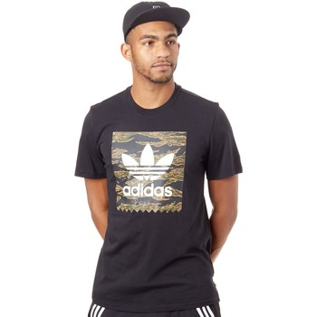 Clothing Men Short-sleeved t-shirts adidas Originals Black-Camo Print-Collegiate Orange Camo BB T-Shirt Black