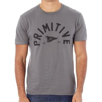 Clothing Men Short-sleeved t-shirts Primitive Dark Charcoal Big Arch Pennant T-Shirt Grey