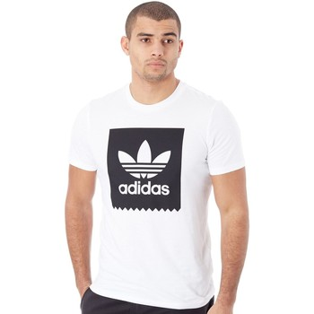 Clothing Men Short-sleeved t-shirts adidas Originals White-Black Solid BB T-Shirt White