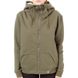 Clothing Women Sweaters Volcom Dark Camo Walk On By - Sherpa Lined Womens Zip Hoody Black