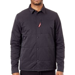 Clothing Men Duffel coats DC Shoes Black Back It Quilted Long Sleeved Shirt Black