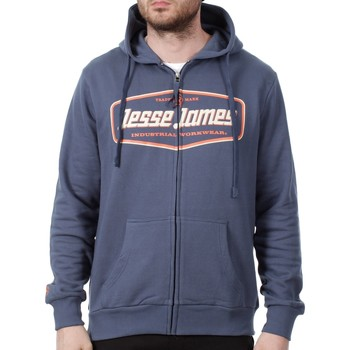 Clothing Men Sweaters Jesse James Navy Industry Logo Zip Hoody Black