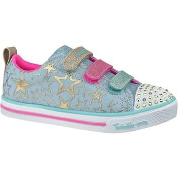 Shoes Children Low top trainers Skechers Sparkle Litestars The Limit Blue,Golden