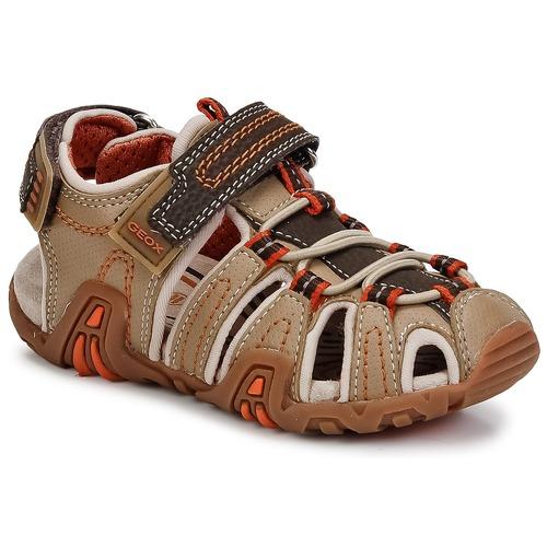Shoes Boy Outdoor sandals Geox JR SANDAL KRAZE Beige / Orange