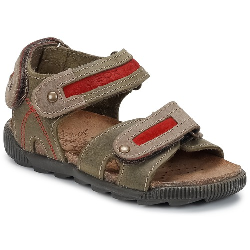 Shoes Boy Outdoor sandals Geox STORM Olive / Dk / Red