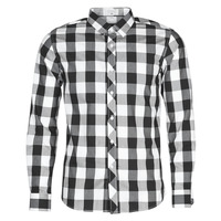 Clothing Men Long-sleeved shirts Casual Attitude NARO White / Black