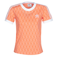 Clothing Women short-sleeved t-shirts adidas Originals 3 STRIPES TEE Orange