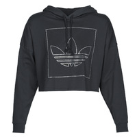 Clothing Women Sweaters adidas Originals CROP HOODIE Black