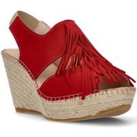 Shoes Women Sandals Ramoncinas BROWN ESPADRILLES APHRODITE FRINGES RED