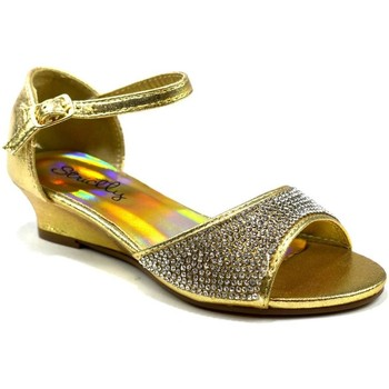 Shoes Girl Sandals Strictly Amna Girl's Open Toe Wedge Sandal Gold