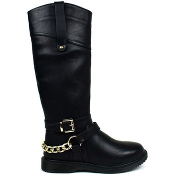Shoes Women Boots Hotsoles London Women's Gold Chain Riding Boot Black