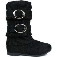 Shoes Women Mid boots Reveal Love Your Look Leggings Love Double Buckle Zip Boot Black Black