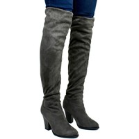 Shoes Women Boots Carolina Women's Over The Knee Cloth Heeled Boot Grey