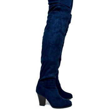 Shoes Women Boots Carolina Women's Over The Knee Cloth Heeled Boot Navy