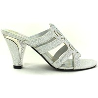 Shoes Women Sandals Strictly Women's Double Rose Slip On Heel Silver