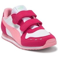 Shoes Girl Low top trainers Puma Cabana Racer SL V PS White,Red,Pink