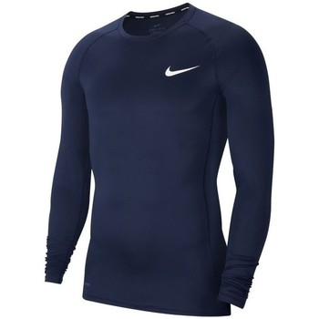Clothing Men Long sleeved tee-shirts Nike Pro Top Compression Crew Navy blue