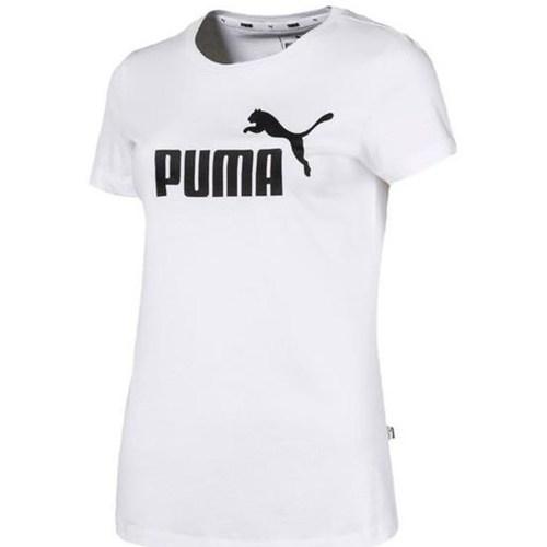 Clothing Women Short-sleeved t-shirts Puma Ess Logo Tee White