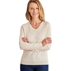 Clothing Women Jumpers Woolovers Cashmere and Cotton V Neck Jumper BEIGE