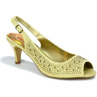 Shoes Women Sandals Strictly Women's Kitten Heel Slingback Evening Sandal Gold