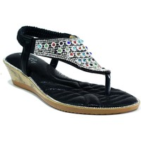 Shoes Women Sandals Strictly Multicoloured Gem Slingback Sandal Black