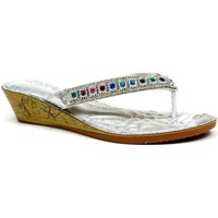 Shoes Women Sandals Reveal Love Your Look Multicoloured Multigem Toe Post Sandal Silver