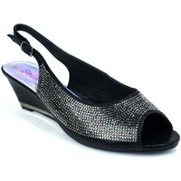 Shoes Women Sandals Strictly Women's Slingback Wedge Diamante Evening Black