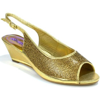 Shoes Women Sandals Strictly Women's Slingback Wedge Diamante Evening Gold
