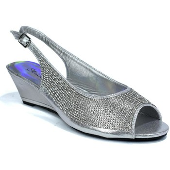 Shoes Women Sandals Strictly Women's Slingback Wedge Diamante Evening Silver