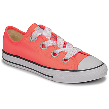 Shoes Girl Low top trainers Converse CTAS BIG EYELET OX LAVA GLOW/WHITE/BLACK Pink