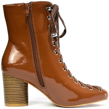 Shoes Women Boots Hot Soles Lace Up Round Heel Congnac