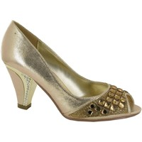 Shoes Women Heels Strictly Peep Toe Silver Stone Diamante Heel Evening Shoe Gold