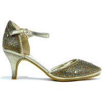Shoes Women Heels Strictly Women's Ankle Strap Pointed Evening Heel Gold