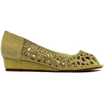 Shoes Women Heels Strictly Indi Low Wedge Perforated Sandal Gold
