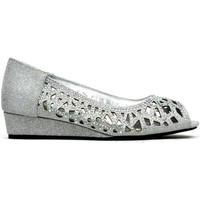 Shoes Women Flat shoes Strictly Indi Low Wedge Perforated Sandal Silver