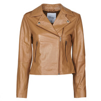 Clothing Women Leather jackets / Imitation leather Betty London NROCK Cognac